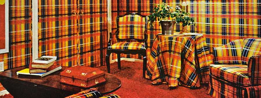 plaid living room